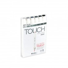 Shin Han : Touch Twin 6 BRUSH Marker Pen Set : Grey Colors