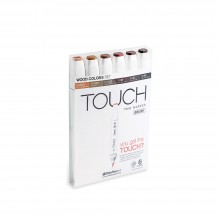 Shin Han : Touch Twin 6 BRUSH Marker Pen Set : Wood Colors