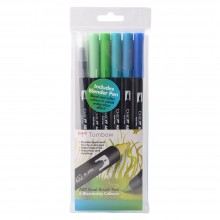 Tombow : Dual Brush Pens : Ocean Colours : Pack of 6