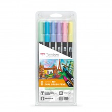 Tombow : Art Dual Brush Pens : Pastel Colours : Set of 6