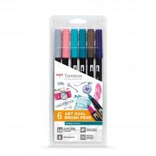 Tombow : Art Dual Blendable Brush Pens : Vintage Colours : Set of 6