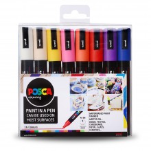Uni : Posca Marker : PC-5M : Medium Bullet Tip : 1.8 - 2.5mm : Assorted Colours Set of 16