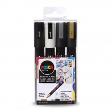 Uni : Posca Marker : PC-5M : Medium Bullet Tip : 1.8 - 2.5mm : Mono Tones Set of 4