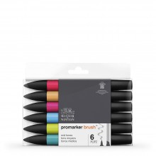 Winsor & Newton : Brush Marker : Set of 6 : Mid Tones
