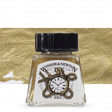 Winsor & Newton : Drawing Ink : 14ml : Gold : (Water Resistant)
