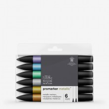 Winsor & Newton : ProMarker : Set of 6 : MetallicMarker Set 1