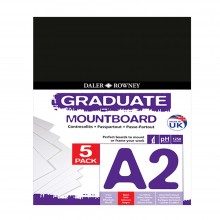 Daler Rowney : Graduate Mountboard A2 : Black : Pack of 5