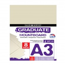 Daler Rowney : Graduate Mountboard A3 : Ivory : Pack of 8