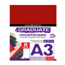 Daler Rowney : Graduate Mountboard A3 : Assorted : Pack of 8
