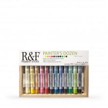 R&F : Pigment Stick Set : 38ml : Painters Dozen Set 1 : 12 Colours