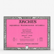 Arches : Aquarelle : Block : 20x14in : 20 Sheets : Glued : Hot Pressed