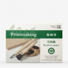 Awagami Washi : Japanese Paper : Bamboo Printmaking Pad : 170gsm : 15.8x22.8cm : 15 Sheets