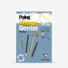 Clairefontaine : PaintOn : Glued Pad : 250gsm : 15 Sheets : A5 : Denim Blue