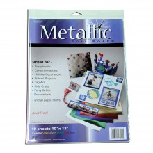 Grafix : Metallic Foil Board 10x13 inches : Pack of 10 : Assorted Colours