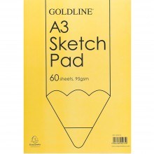 Goldline : Glued Sketch Pad : 95gsm : 297x420mm (A3 29.7x42cm)