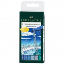 Faber Castell : Pitt Artists Brush Pen : Blue Shades : Set of 6