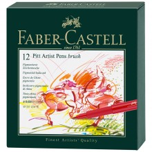 Faber Castell : Pitt : Artist Brush Pen : Gift Box Set of 12 Assorted