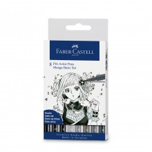 Faber Castell : Pitt Artists Pen Manga Wallet : Set of 8