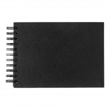 Seawhite : A5 Black Card 220gsm : 40 sheets : spiral pad wide spine
