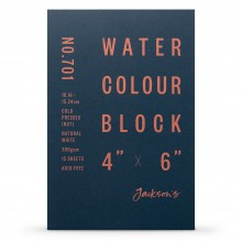 Jackson's : Watercolour Paper : Block : 300gsm : 15 Sheets  : 4x6in : Not