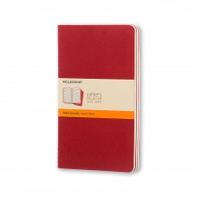 Moleskine : Ruled Cahier Journal : 70gsm : 13x21cm : 40 Sheets : Cranberry Red : Pack of 3