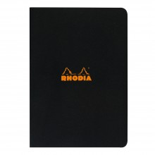 Rhodia : Lined Side Stapled Notebook : Black Cover : 48 Sheets : A4