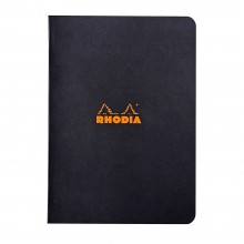 Rhodia : Lined Side Stapled Notebook : Black Cover : 48 Sheets : A5