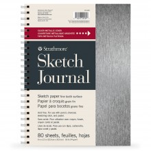 Strathmore : 200 Series : Metallic Sketch Journal : Brushed Silver : 74gsm : 80 Sheets : 9x12in