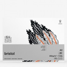Winsor & Newton : Bristol Board Pad : 250gsm : 20 Sheets : Extra Smooth : Bright White : A2