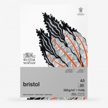 Winsor & Newton : Bristol Board Pad : 250gsm : 20 Sheets : Extra Smooth : Bright White : A3