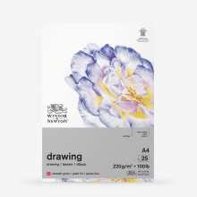 Winsor & Newton : Heavy Weight Drawing : Cartridge Gummed Pad : 220gsm : Smooth : 25 Sheets : A4