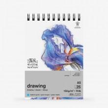 Winsor & Newton : Drawing : Cartridge Spiral Pad : 150gsm : Medium : 25 Sheets : A5