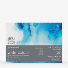 Winsor & Newton : Professional : Watercolour Paper Block : 300gsm : 20 Sheets : 10x14in : Cold Pressed