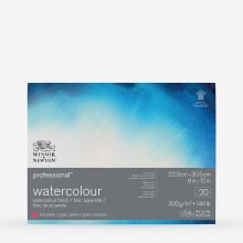 Winsor & Newton : Professional : Watercolour Paper Block : 300gsm : 20 Sheets : 9x12in : Hot Pressed