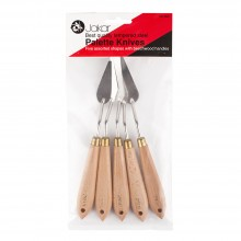 Jakar : Painting Knife : Set of 5 : Steel With Wooden Handles In Assorted Shapes