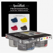 Speedball : Professional Relief Ink : 8oz (236.5ml) : Set of 4