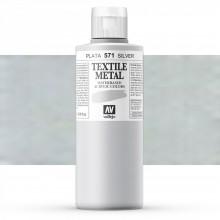 Vallejo : Textile Paint : 200ml : Metallic Silver