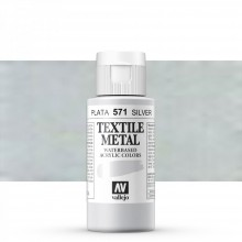 Vallejo : Textile Paint : 60ml : Metallic Silver