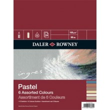 Daler Rowney : Ingres : Pastel Paper : 160gsm : 24 Sheets : 12x16in : 6 Colours