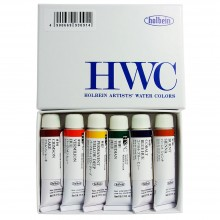 Holbein : Watercolour Paint :Introductory Set Of 6 x 5ml : Tubes