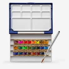 Holbein Watercolour Paint Set : Plastic Case : 24 Half Pans