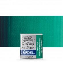 Winsor & Newton : Cotman Watercolour : Half Pan : Viridian Green
