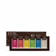 Kuretake : Gansai Tambi Japanese Watercolour : Large Pan : Set of 6 Pearl Colours