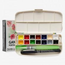Kuretake : Gansai Tambi Japanese Watercolour : Half Pan : Portable Set of 14