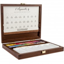 Sennelier : Watercolour : Wooden Box Set : 24 x Half Pans with Acessories