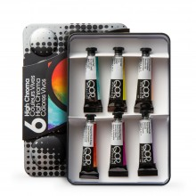 Golden : Qor : Watercolour Paint : Introductory Set of 6 High Chroma Colours : 5ml Tubes