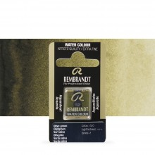 Talens : Rembrandt Watercolour Paint : Half Pan Olive Green
