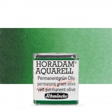 Schmincke : Horadam Watercolour Paint : Half Pan : Permanent Green Olive