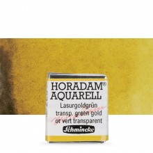 Schmincke : Horadam Watercolour Paint : Half Pan : Transparent Green Gold