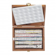 Schmincke : Horadam Watercolour Paint : Wooden Box Set : 48 Half Pans